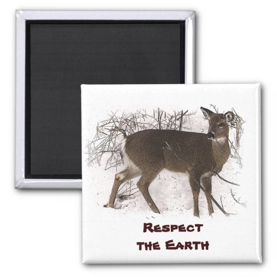 Deer in Snow - Earth Day Magnet