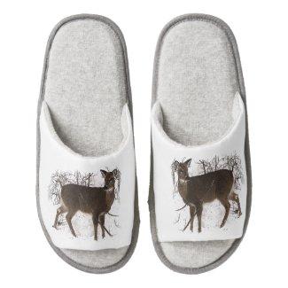 Deer in Snow Pair of Open Toe Slippers