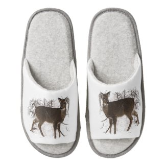 Deer in Snow Pair of Open Toe Slippers