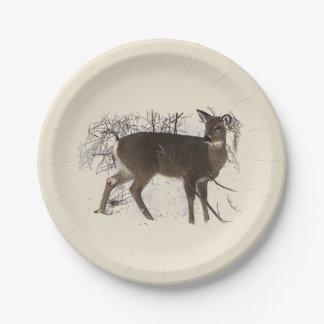 Deer in Snow Paper Plates