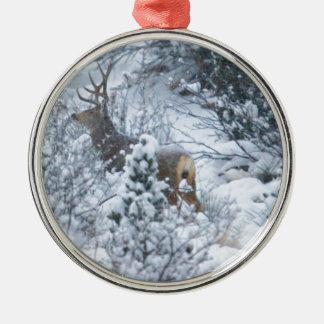 Deer in Snow Round Metal Christmas Ornament