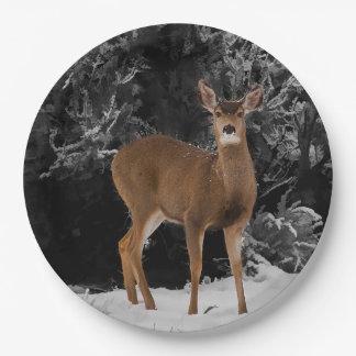 DEER IN SNOW 9 INCH PAPER PLATE