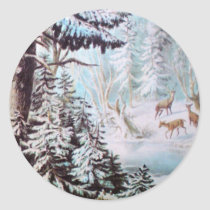Deer in Snow Sticker