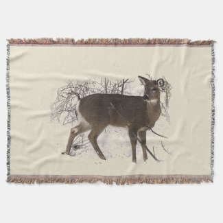 Deer in Snow Throw Blanket