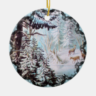 Deer in Snowy Forest Ornament