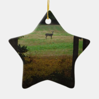 Deer in the Distance Ceramic Ornament