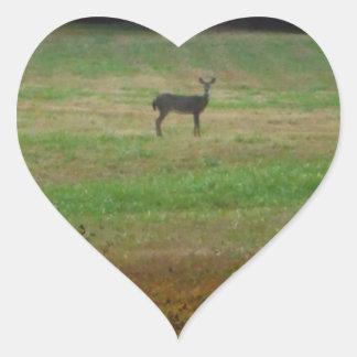 Deer in the Distance Heart Sticker