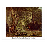 Deer In The Forest By Gustave Courbet Post Card