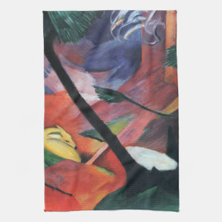 Deer in the Forest II by Franz Marc; Reh im Walde Kitchen Towel