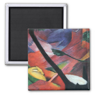Deer in the Forest II by Franz Marc; Reh im Walde Magnet