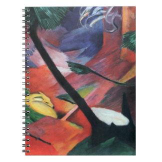 Deer in the Forest II by Franz Marc; Reh im Walde Spiral Notebook