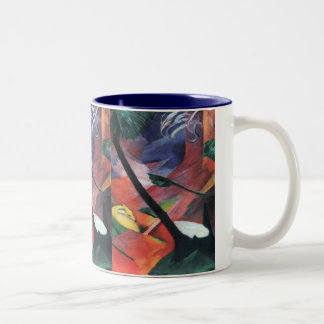 Deer in the Forest II by Franz Marc; Reh im Walde Two-Tone Coffee Mug