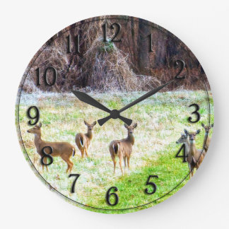 Deer in the Frost Large Clock