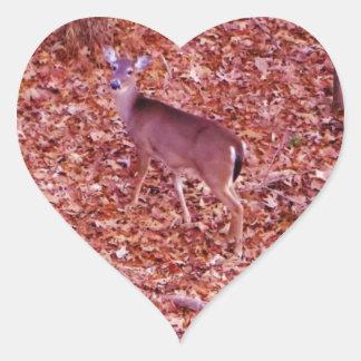 Deer in the leaves heart sticker