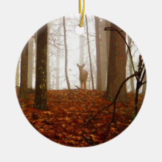 Deer in the Mist Double-Sided Ceramic Round Christmas Ornament