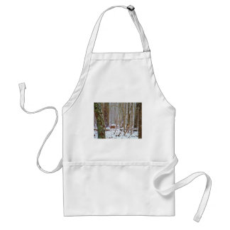 Deer in the snow, licking leg adult apron