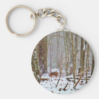 Deer in the snow licking leg key chain