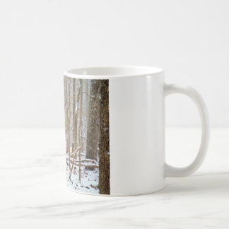 Deer in the snow, licking leg classic white coffee mug
