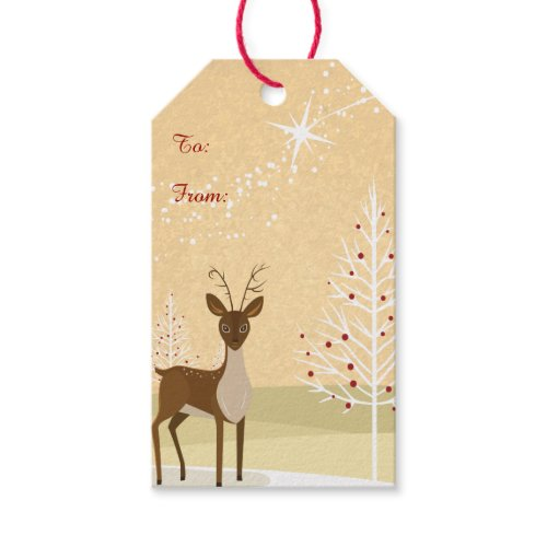 Deer in the Snow Pack Of Gift Tags