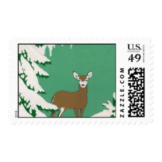 Deer in the Snow Postage