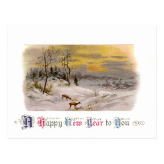 Deer in the Snow Vintage New Year Postcard