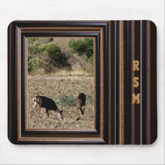 Deer in the wild monogrammed mouse pad