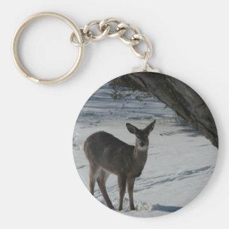 Deer in the winter keychain