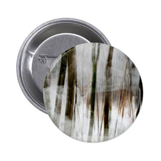 Deer in the Winter Woods Abstract Button