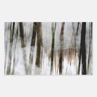 Deer in the Winter Woods Abstract Rectangular Sticker