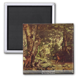 Deer In The Woods By Courbet Gustave 2 Inch Square Magnet