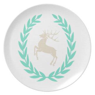 Deer in Victory Wreath, Laurel Dinner Plate