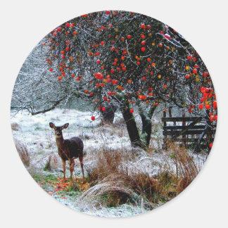Deer in Winter Classic Round Sticker