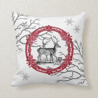 Deer in Winter Forest Christmas Pillow