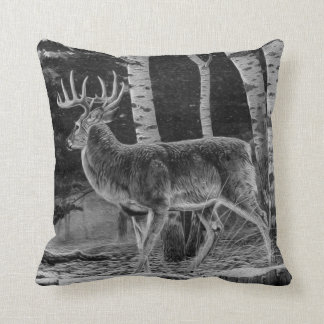 Deer in Winter Forest Painting in Black and White Throw Pillow