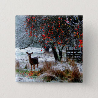 Deer in Winter Pinback Button
