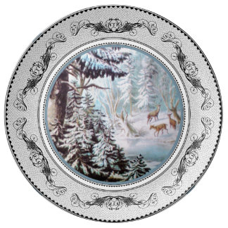 Deer in Winter Porcelain Dinner Plate