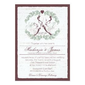 Deer in Wreath with Monogram Sage 5x7 Paper Invitation Card