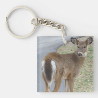 Deer Key Ring Double-Sided Square Acrylic Keychain