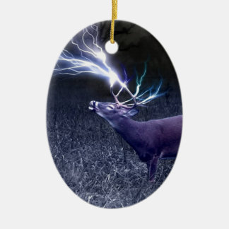 Deer Lightning Double-Sided Oval Ceramic Christmas Ornament
