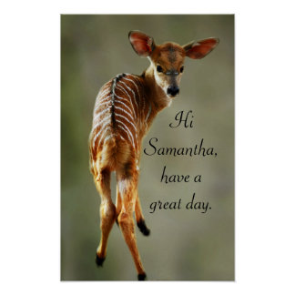 Deer looking at you personalize poster