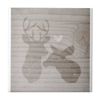 Deer Love | Couple Small Square Tile