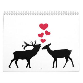 Deer love red hearts calendar