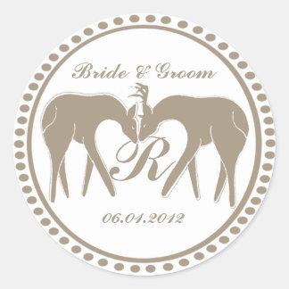 Deer Love Wedding Monogram Classic Round Sticker