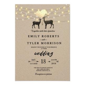 Deer Love Woodland Deer String Lights Wedding Card