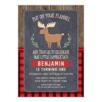Deer Lumberjack 1st Or 2nd Birthday Invitation
