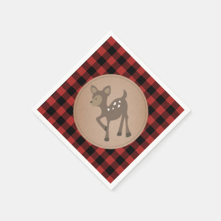 Deer Lumberjack Plaid Baby Shower Napkins