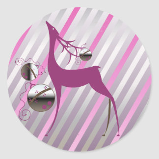 Deer Merry and Bright Round Sticker