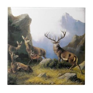 Deer mountains nature wild anomals painting ceramic tile