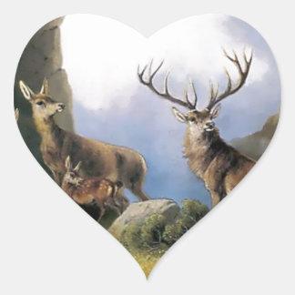 Deer mountains nature wild anomals painting heart sticker