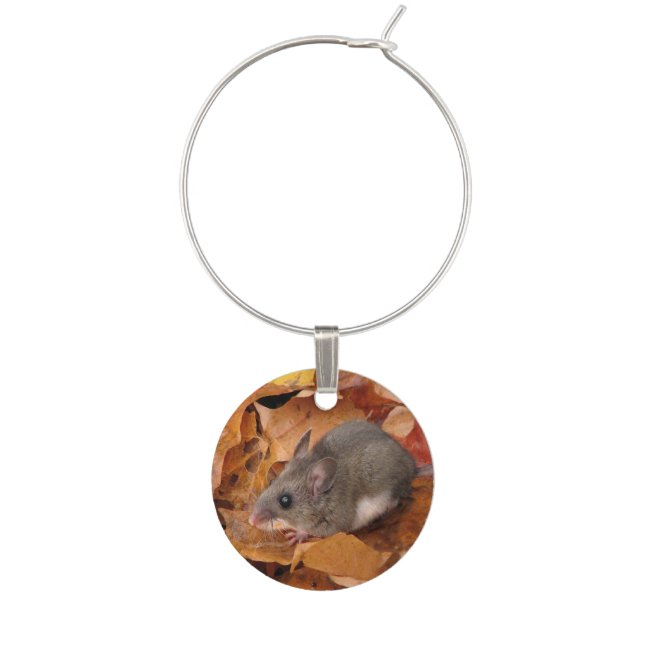 Deer Mouse on Autumn Leaves Wine Charm